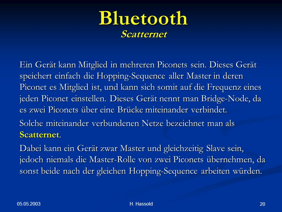 Bluetooth Scatternet.