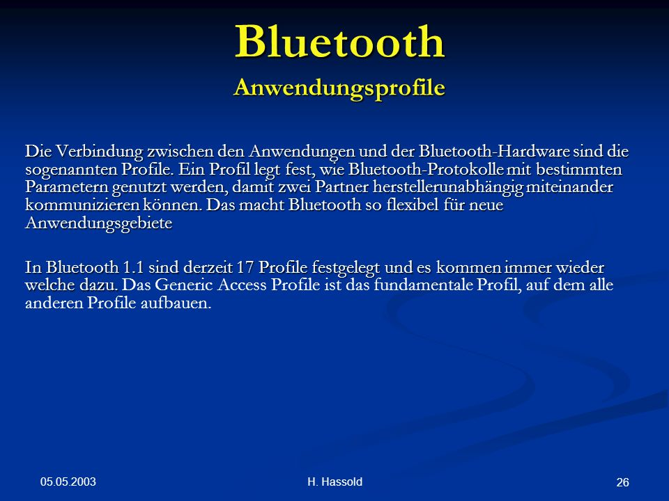 Bluetooth Anwendungsprofile