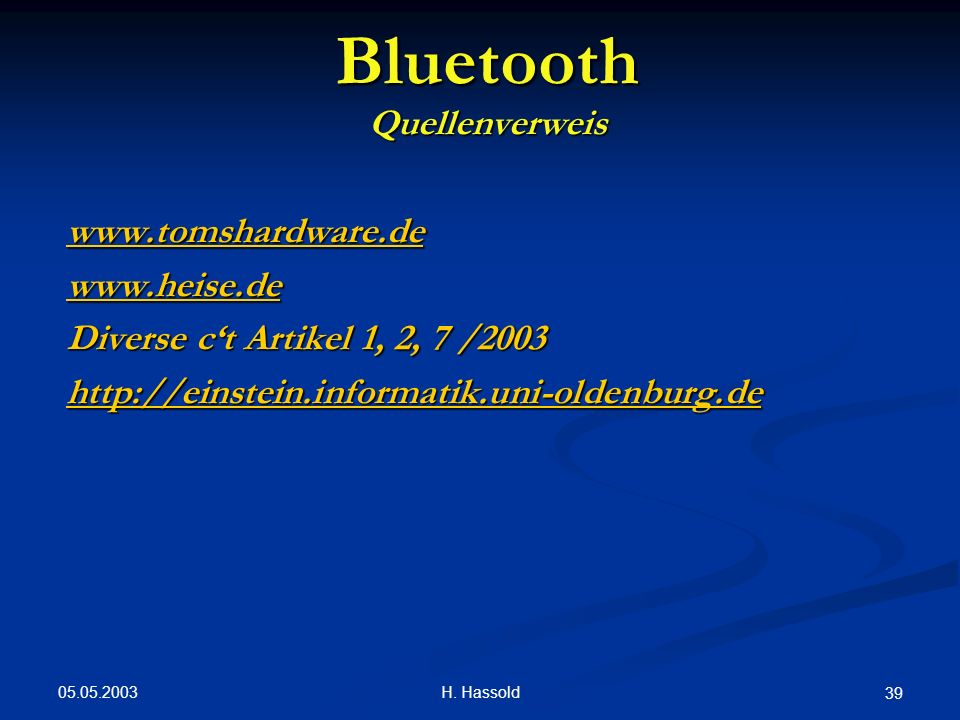 Bluetooth Quellenverweis