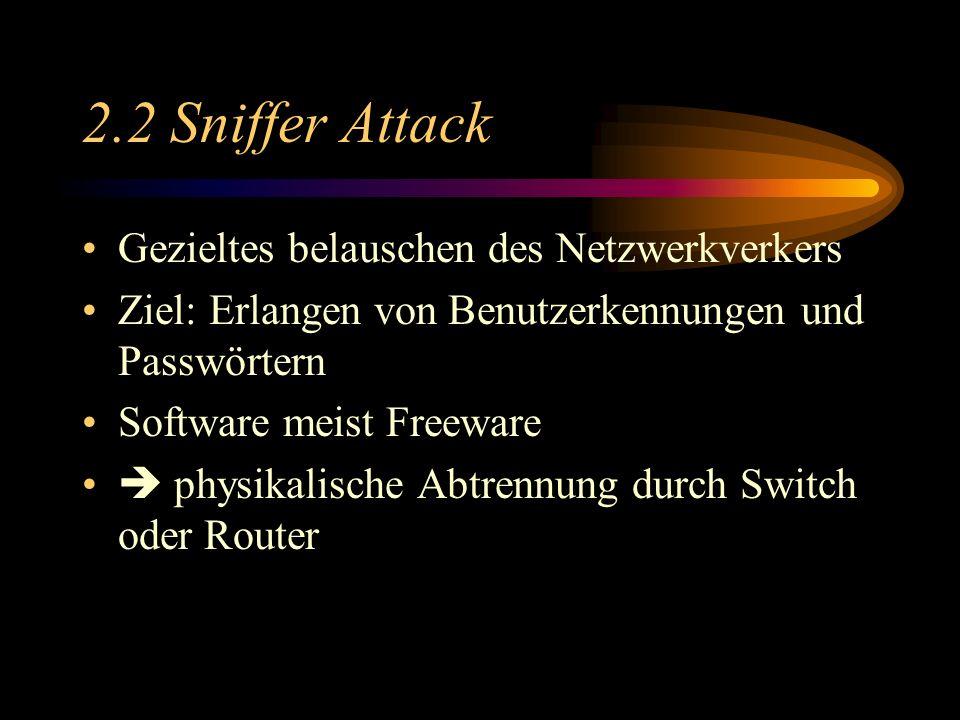 2.2 Sniffer Attack Gezieltes belauschen des Netzwerkverkers