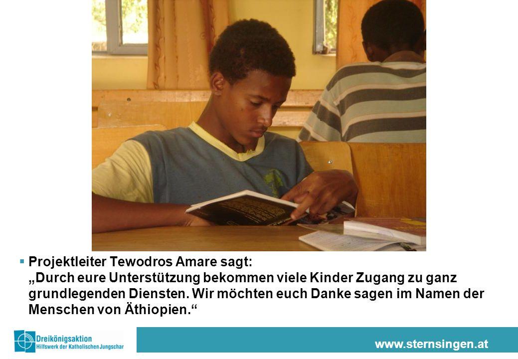 """Projektleiter Tewodros Amare sagt: """"Durch eure Unterstützung bekommen viele Kinder Zugang zu ganz grundlegenden Diensten. Wir möchten euch Danke sagen im Namen der Menschen von Äthiopien."""