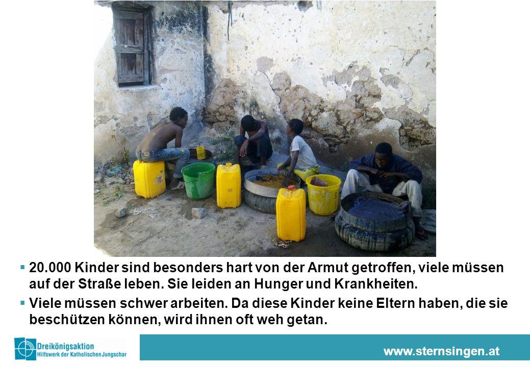 20.000 Kinder sind besonders hart von der Armut getroffen, viele müssen auf der Straße leben. Sie leiden an Hunger und Krankheiten.