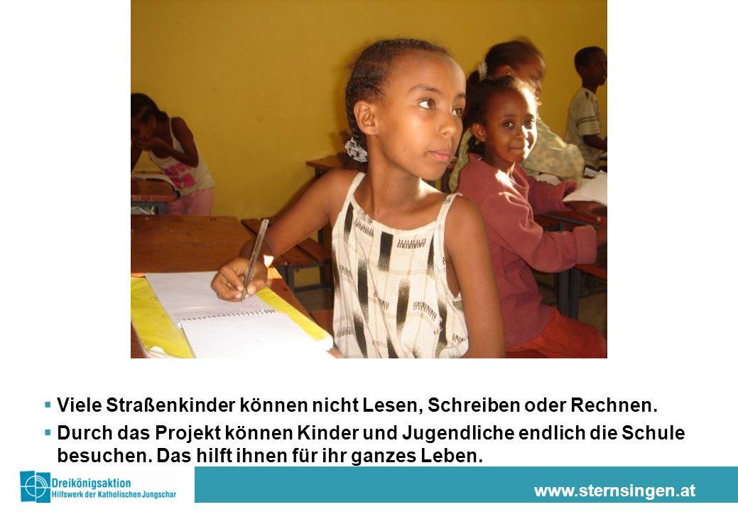 Viele Straßenkinder können nicht Lesen, Schreiben oder Rechnen.