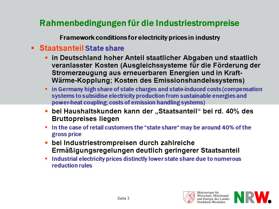 Rahmenbedingungen für die Industriestrompreise