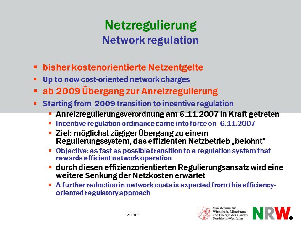 Netzregulierung Network regulation