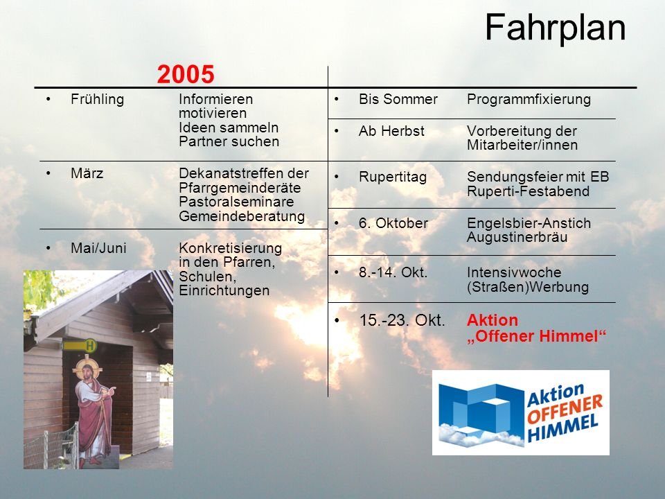 """Fahrplan 2005 15.-23. Okt. Aktion """"Offener Himmel"""