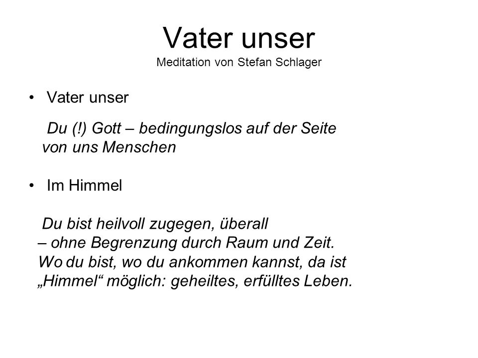 Vater unser Meditation von Stefan Schlager