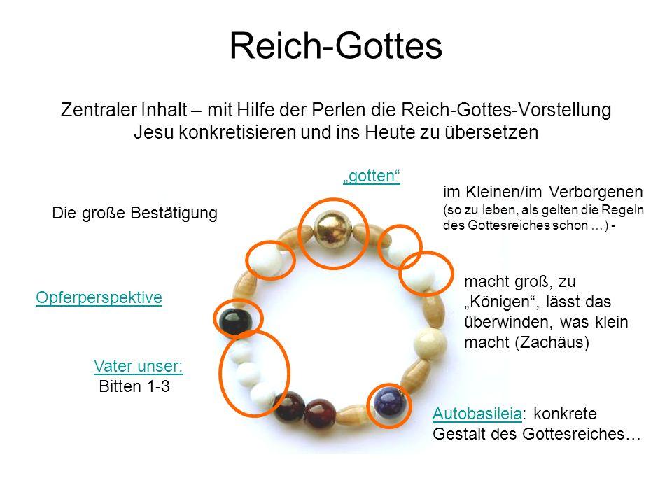 Reich-Gottes Zentraler Inhalt – mit Hilfe der Perlen die Reich-Gottes-Vorstellung Jesu konkretisieren und ins Heute zu übersetzen