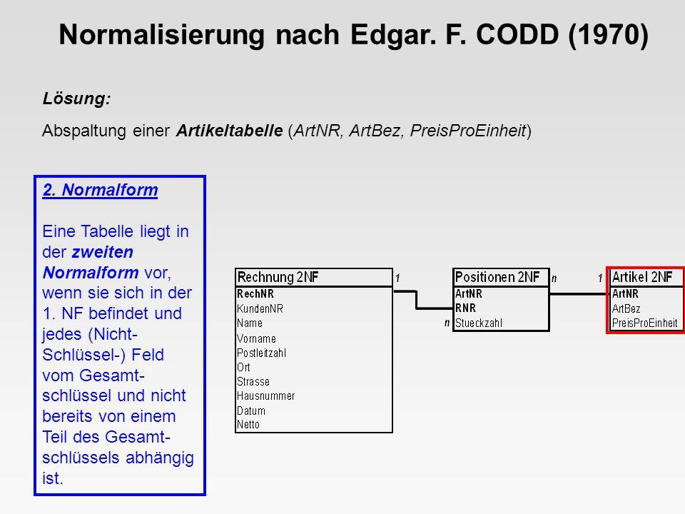 Normalisierung nach Edgar. F. CODD (1970)
