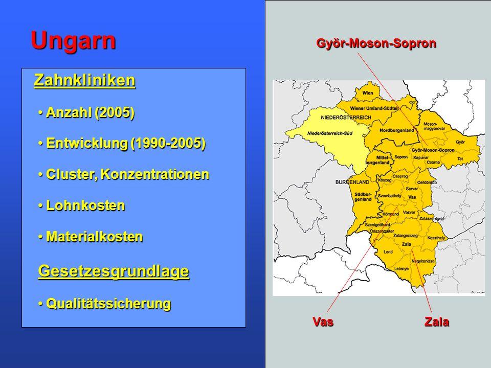 Ungarn Zahnkliniken Gesetzesgrundlage Anzahl (2005)