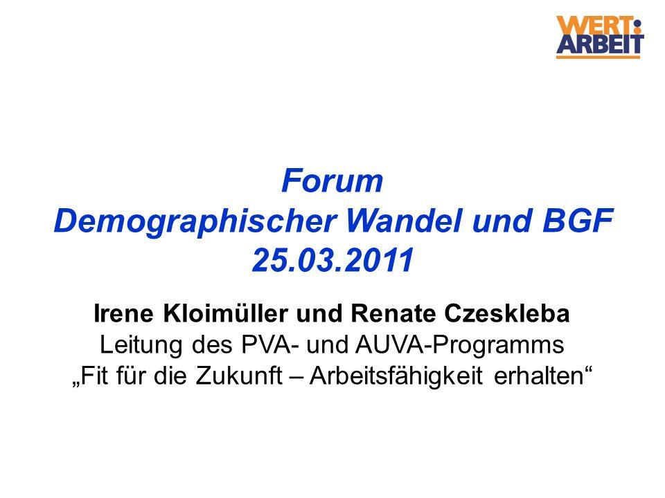 Demographischer Wandel und BGF Irene Kloimüller und Renate Czeskleba