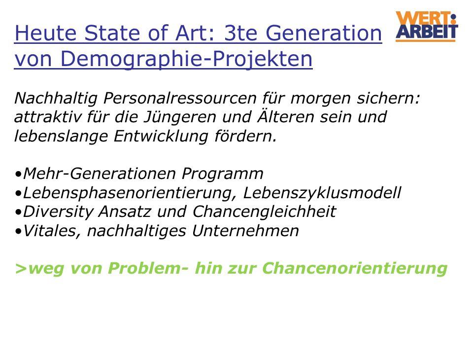 Heute State of Art: 3te Generation von Demographie-Projekten