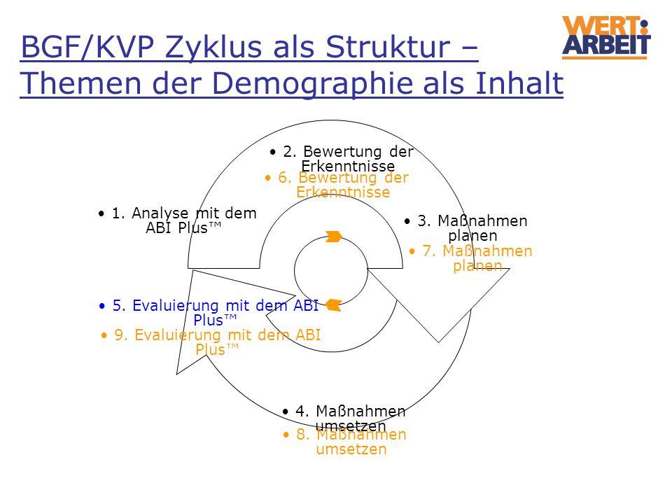BGF/KVP Zyklus als Struktur – Themen der Demographie als Inhalt