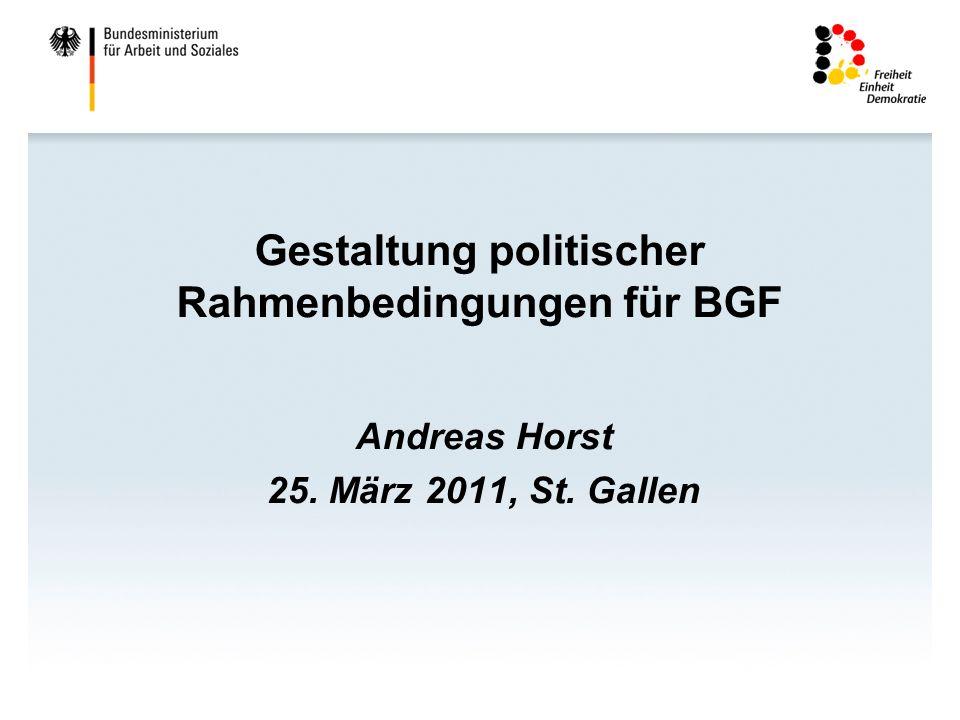 Gestaltung politischer Rahmenbedingungen für BGF