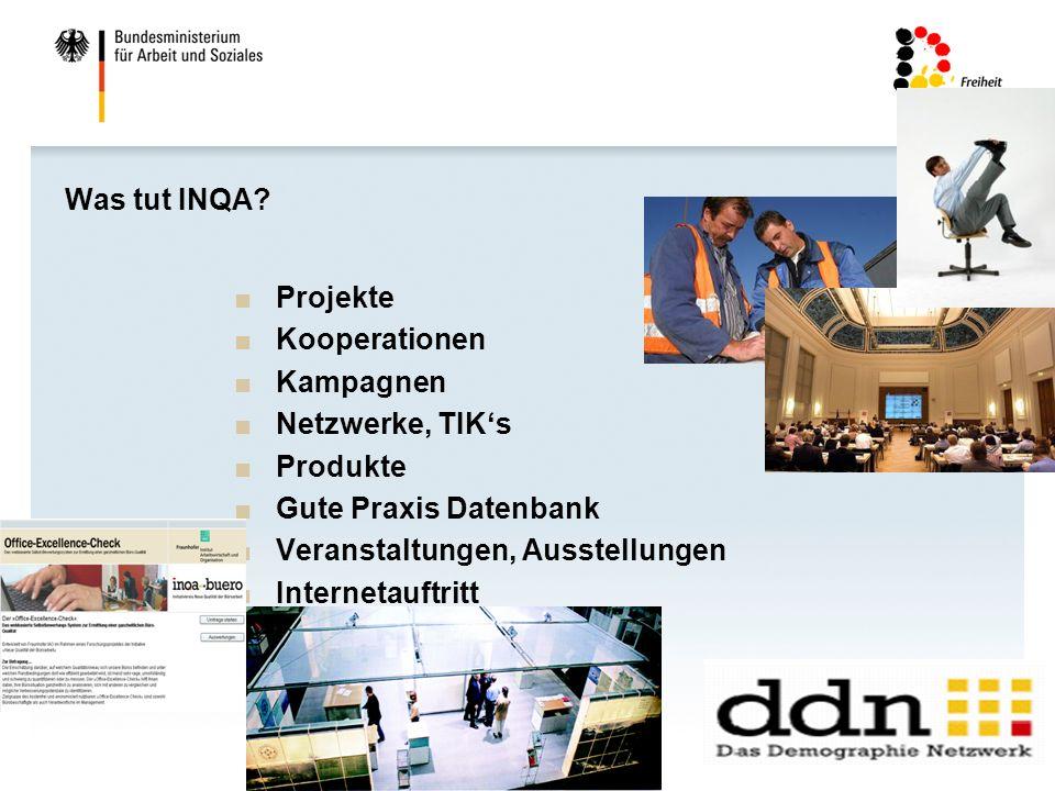 Was tut INQA Projekte. Kooperationen. Kampagnen. Netzwerke, TIK's. Produkte. Gute Praxis Datenbank.