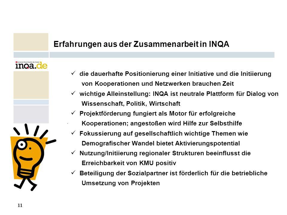 Erfahrungen aus der Zusammenarbeit in INQA