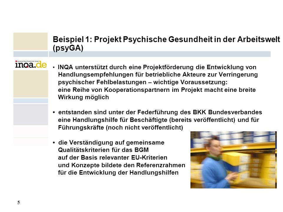 Beispiel 1: Projekt Psychische Gesundheit in der Arbeitswelt (psyGA)