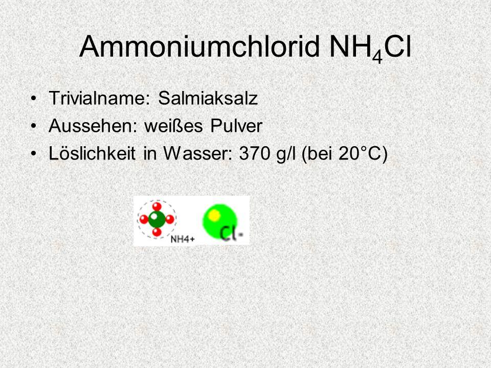 Ammoniumchlorid NH4Cl Trivialname: Salmiaksalz Aussehen: weißes Pulver