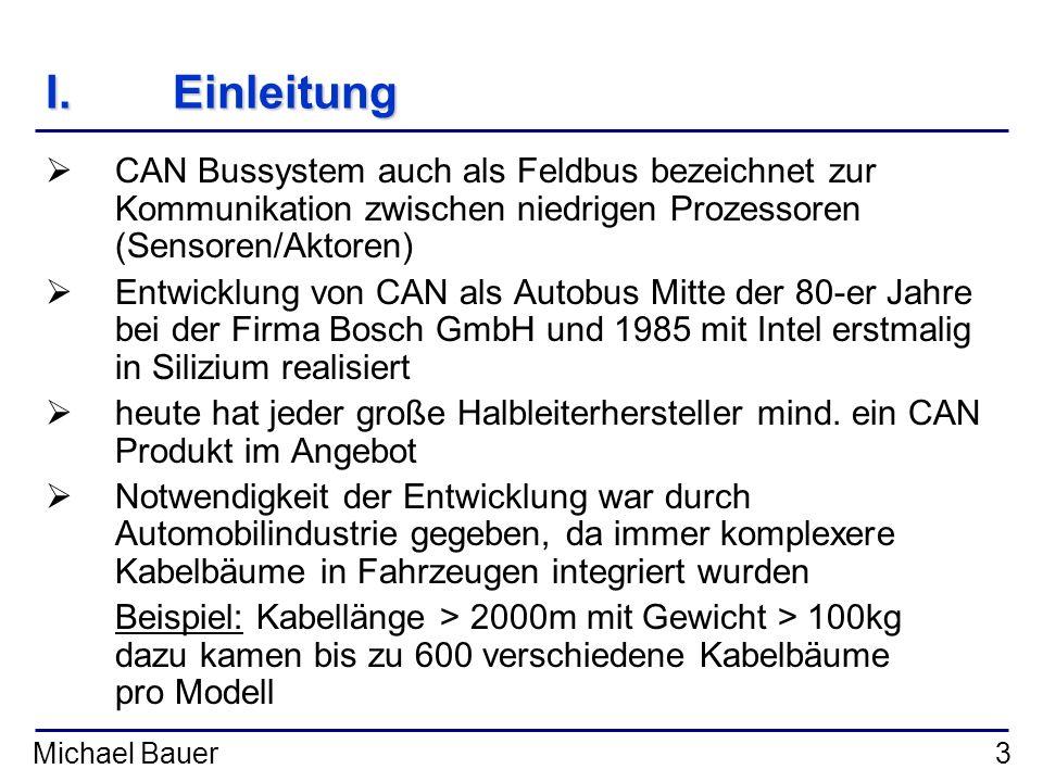 Einleitung CAN Bussystem auch als Feldbus bezeichnet zur Kommunikation zwischen niedrigen Prozessoren (Sensoren/Aktoren)