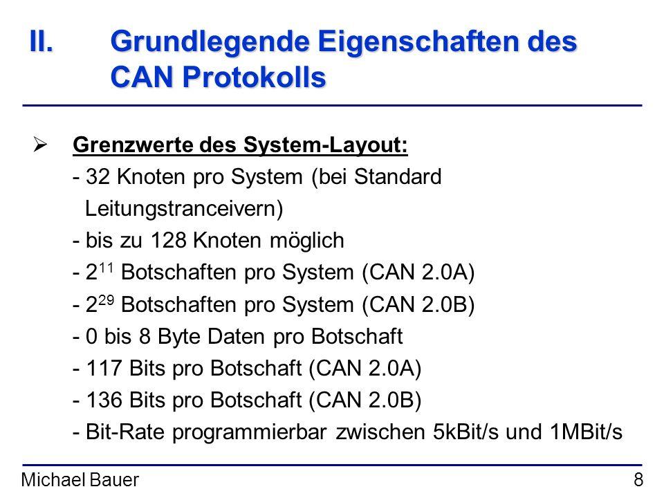 II. Grundlegende Eigenschaften des CAN Protokolls