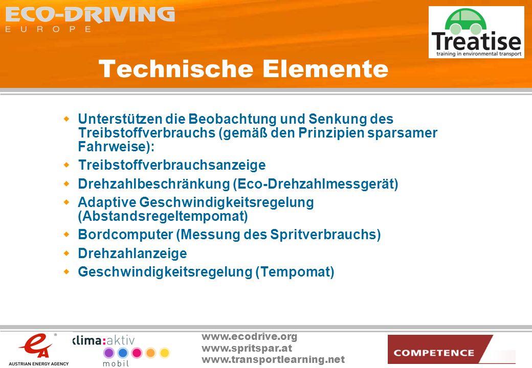 Technische Elemente Unterstützen die Beobachtung und Senkung des Treibstoffverbrauchs (gemäß den Prinzipien sparsamer Fahrweise):