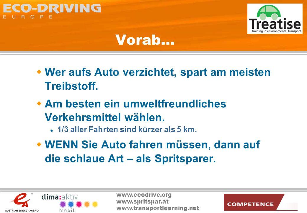 Vorab… Wer aufs Auto verzichtet, spart am meisten Treibstoff.