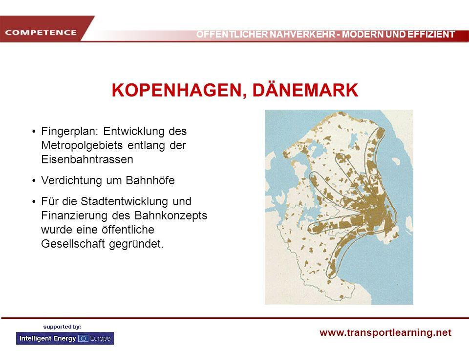 KOPENHAGEN, DÄNEMARK Fingerplan: Entwicklung des Metropolgebiets entlang der Eisenbahntrassen. Verdichtung um Bahnhöfe.