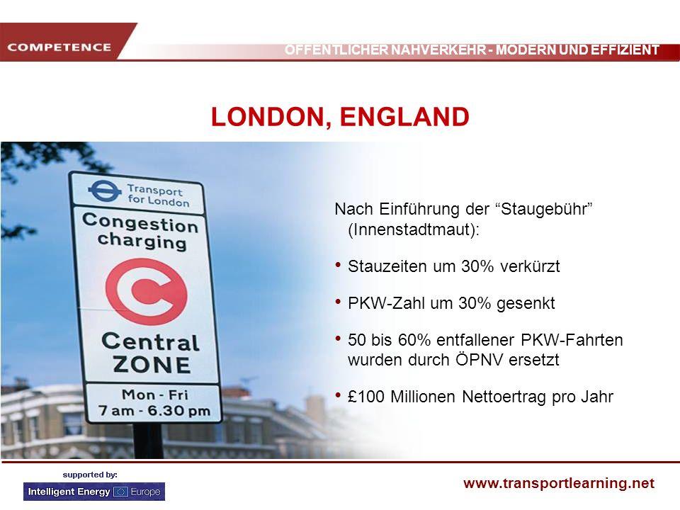 LONDON, ENGLAND Nach Einführung der Staugebühr (Innenstadtmaut):