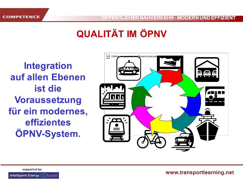 QUALITÄT IM ÖPNV Integration auf allen Ebenen ist die Voraussetzung für ein modernes, effizientes ÖPNV-System.
