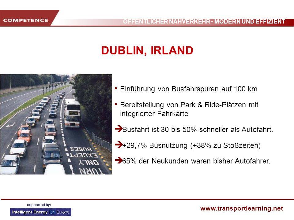 DUBLIN, IRLAND Einführung von Busfahrspuren auf 100 km