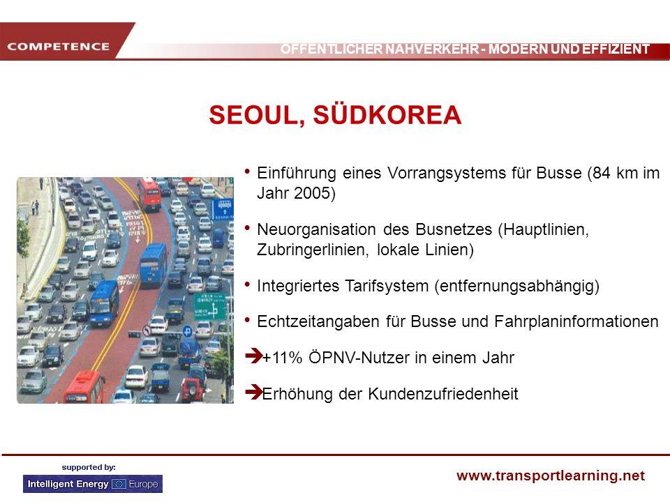 SEOUL, SÜDKOREAEinführung eines Vorrangsystems für Busse (84 km im Jahr 2005)