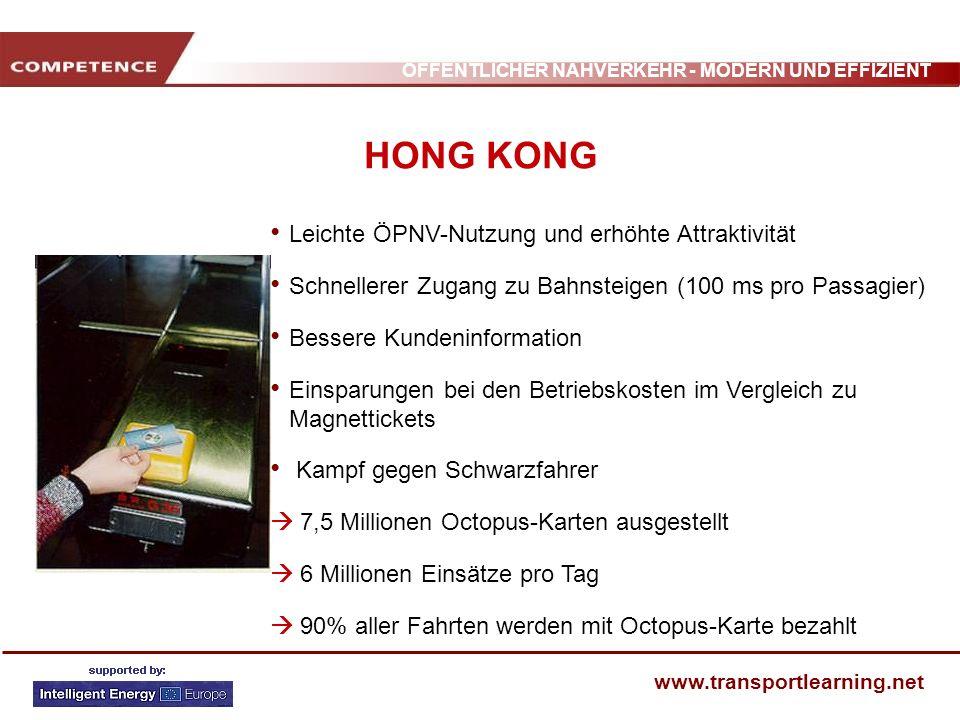 HONG KONG Leichte ÖPNV-Nutzung und erhöhte Attraktivität
