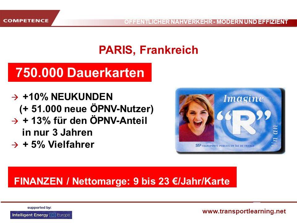 750.000 Dauerkarten = PARIS, Frankreich (+ 51.000 neue ÖPNV-Nutzer)