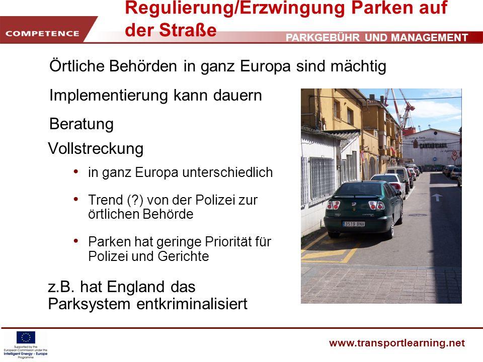 Regulierung/Erzwingung Parken auf der Straße