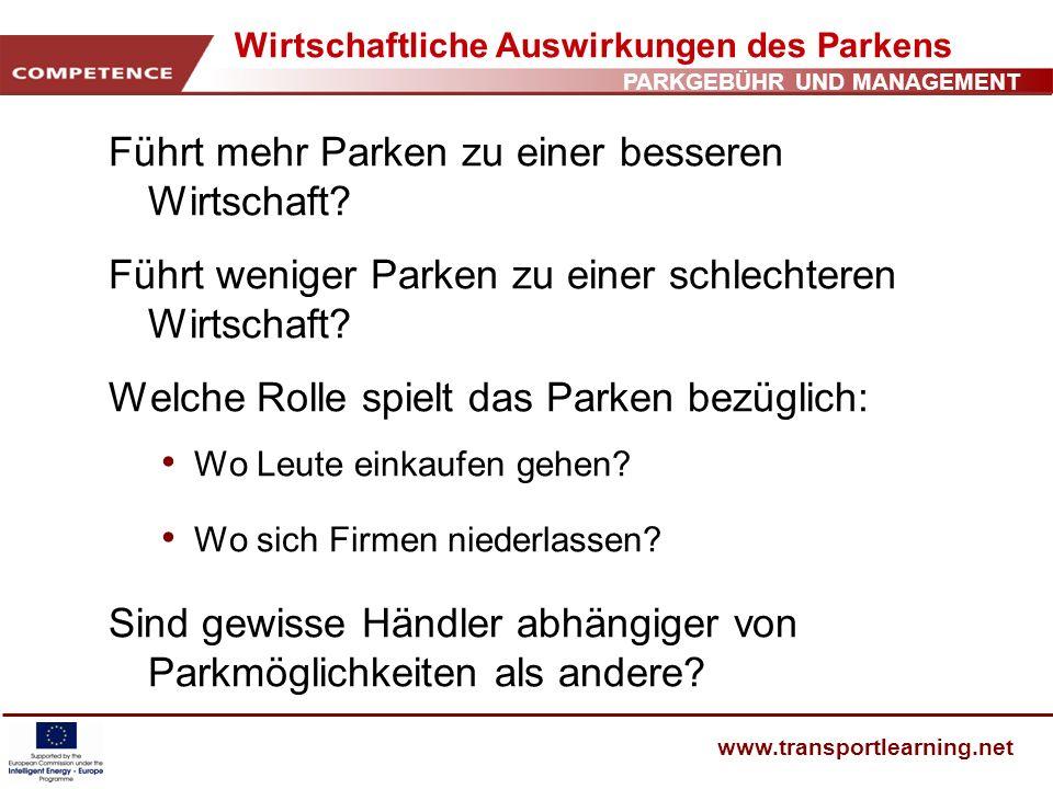 Wirtschaftliche Auswirkungen des Parkens