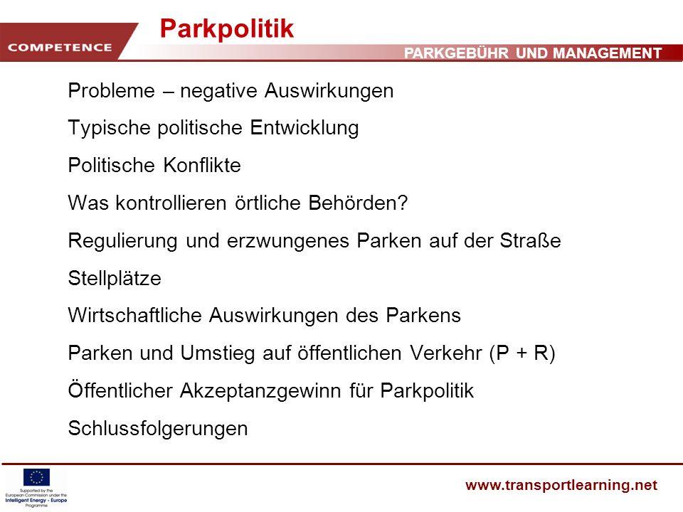 Parkpolitik Probleme – negative Auswirkungen