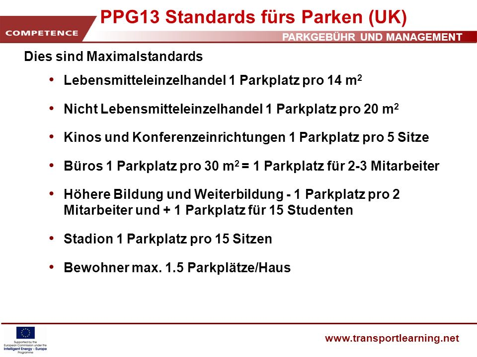 PPG13 Standards fürs Parken (UK)