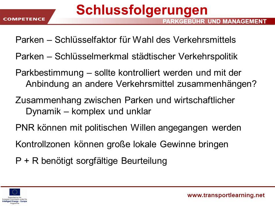 Schlussfolgerungen Parken – Schlüsselfaktor für Wahl des Verkehrsmittels. Parken – Schlüsselmerkmal städtischer Verkehrspolitik.