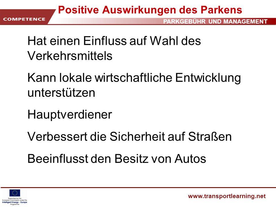 Positive Auswirkungen des Parkens