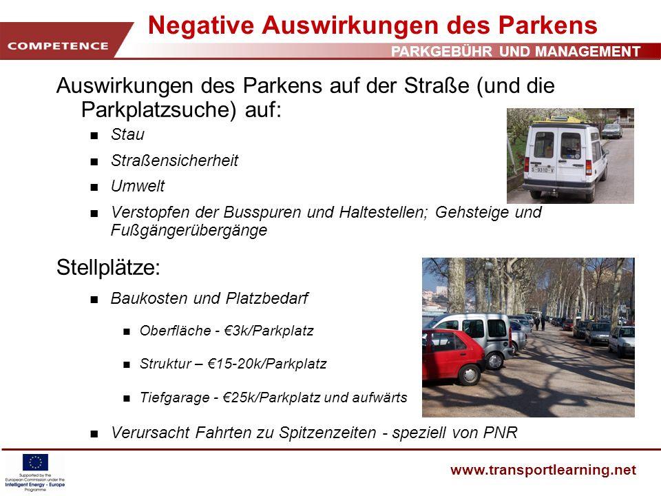 Negative Auswirkungen des Parkens
