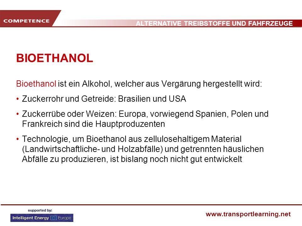 BIOETHANOL Bioethanol ist ein Alkohol, welcher aus Vergärung hergestellt wird: Zuckerrohr und Getreide: Brasilien und USA.