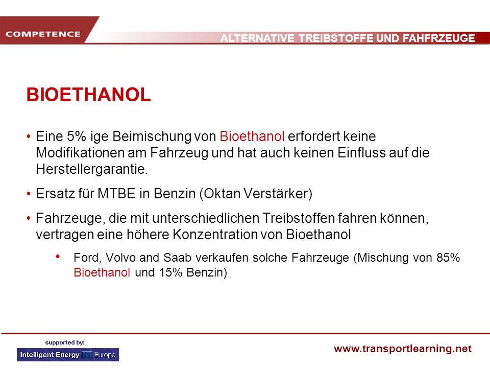 BIOETHANOL Eine 5% ige Beimischung von Bioethanol erfordert keine Modifikationen am Fahrzeug und hat auch keinen Einfluss auf die Herstellergarantie.