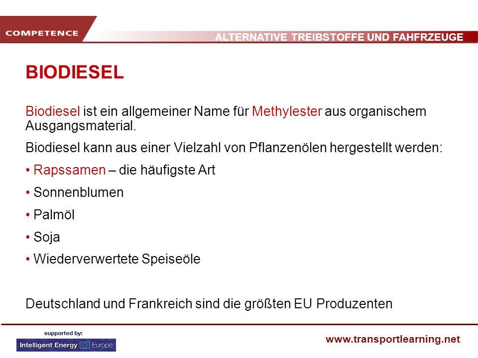 BIODIESEL Biodiesel ist ein allgemeiner Name für Methylester aus organischem Ausgangsmaterial.