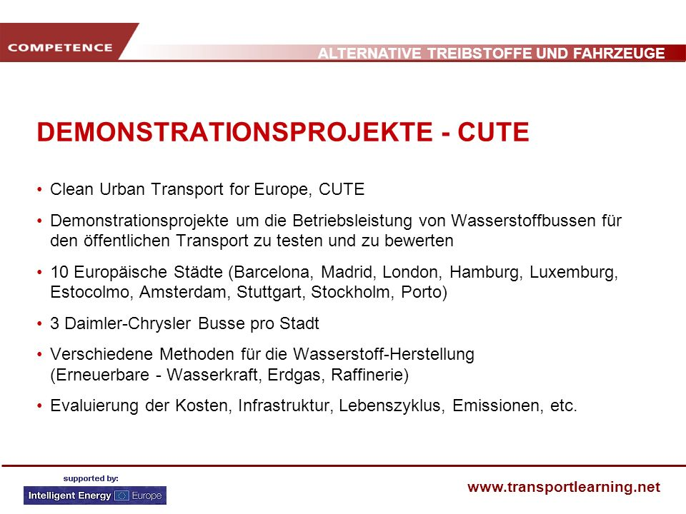 DEMONSTRATIONSPROJEKTE - CUTE