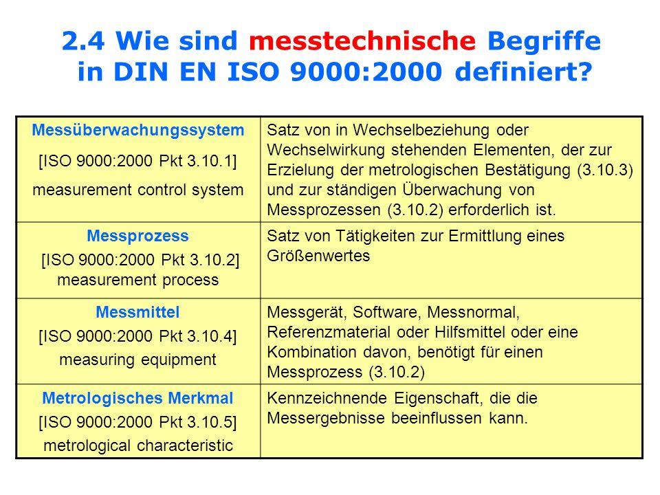 Messüberwachungssystem Metrologisches Merkmal