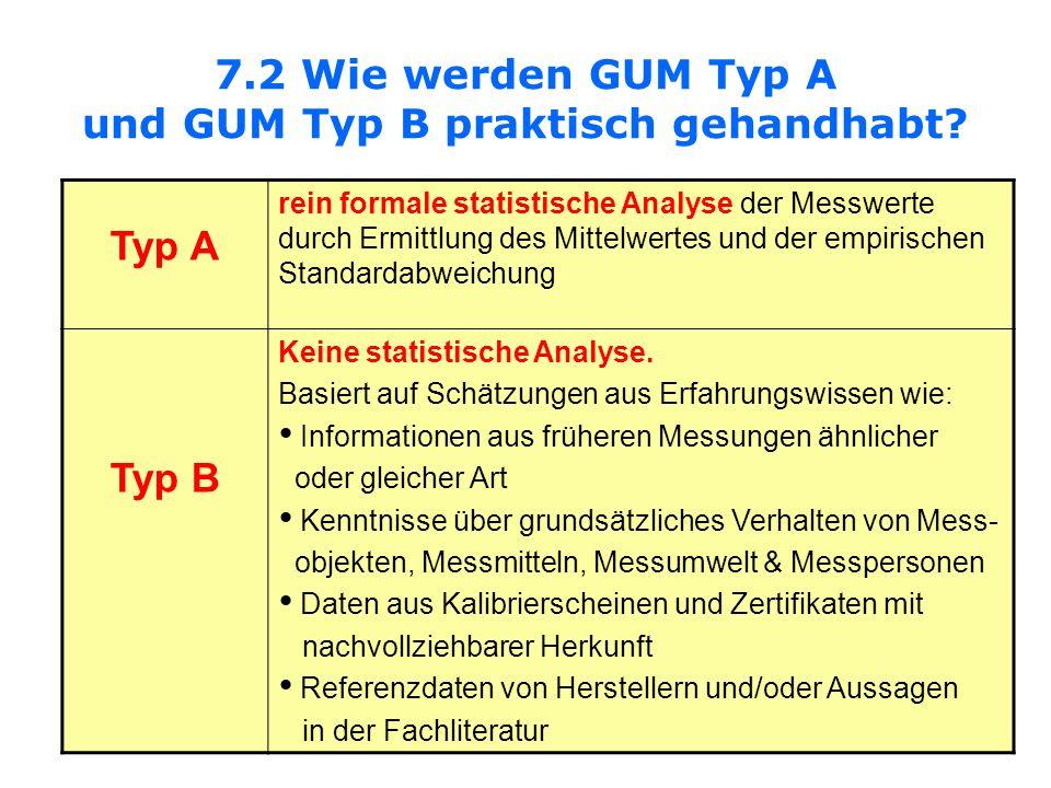 7.2 Wie werden GUM Typ A und GUM Typ B praktisch gehandhabt