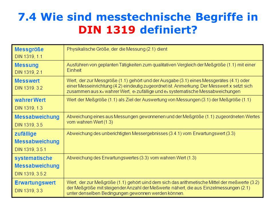 7.4 Wie sind messtechnische Begriffe in DIN 1319 definiert