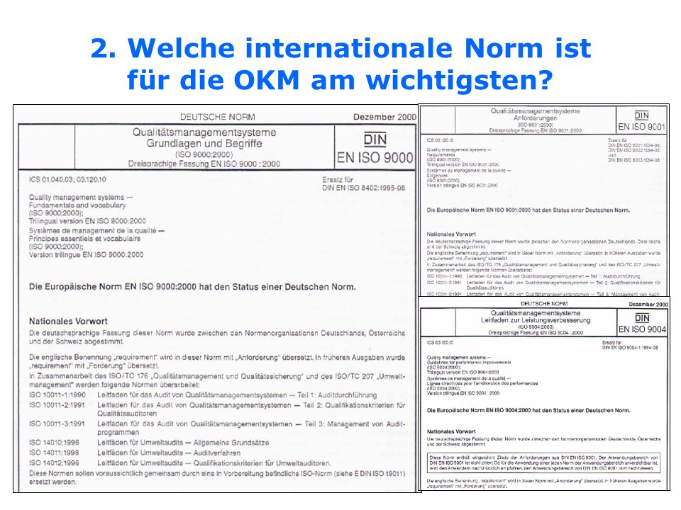 2. Welche internationale Norm ist für die OKM am wichtigsten