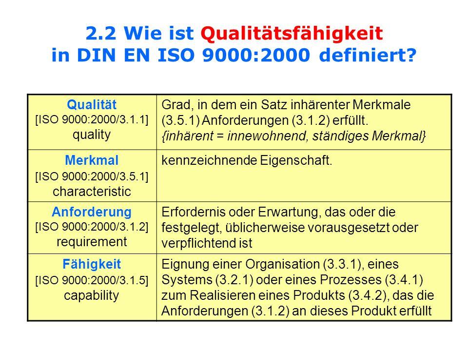 2.2 Wie ist Qualitätsfähigkeit in DIN EN ISO 9000:2000 definiert