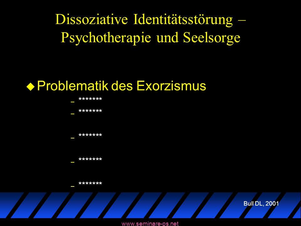 Dissoziative Identitätsstörung – Psychotherapie und Seelsorge